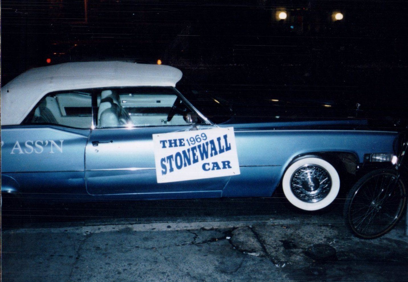 The true blue Stonewall Car at night and, from a downward angle, looking coupey