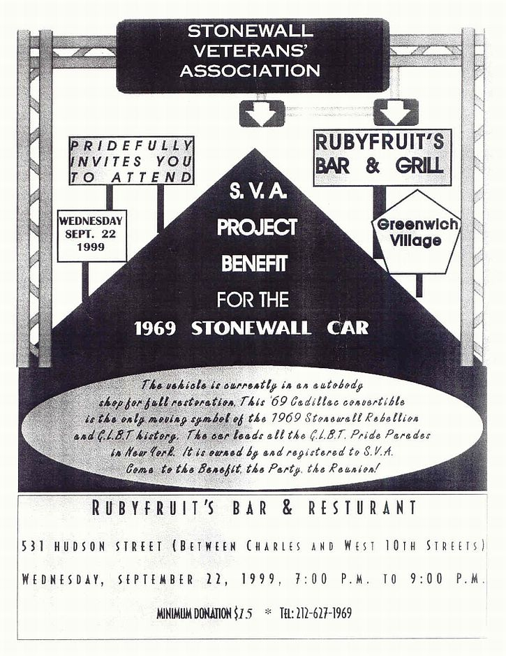 S.V.A. event flyer for an external 'restoration' benefit for 1969 Stonewall Car